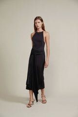 Acler Black Midi Dress with Pleated Waist Tie and Asymmetrical Drape