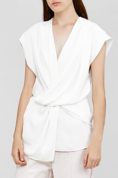 Acler Cream Ladies Top with Drape Neckline