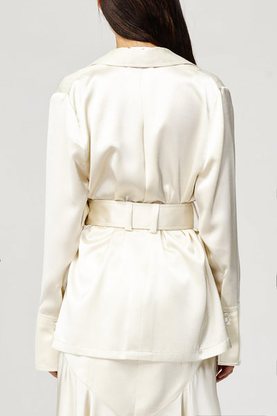 Acler Ladies Cream Soto Top, V-neck Collared Shirt Back Detail