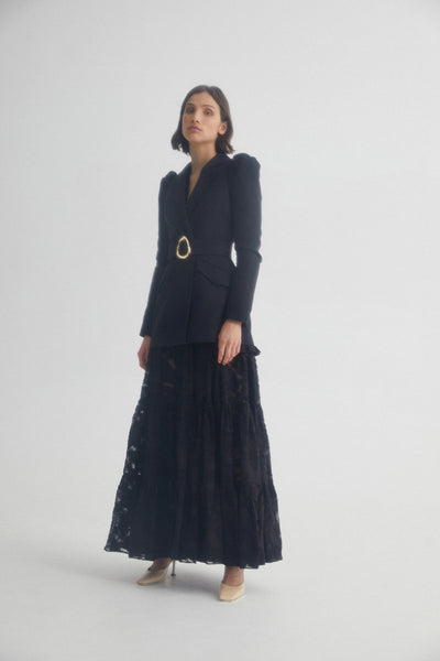 Long Sleeved, Black Lace Full Length Acler Dress with Black Blazer