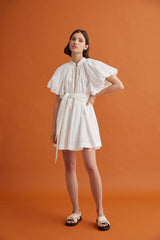 Acler Ivory Mini Dress with Puff Sleeves, Waist Tie, High Neckline and Gold Button Fastening