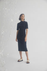 Acler Black Midi Dress with High Asymmetrical Neckline, Short Sleeves and Ruching Detail