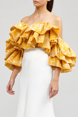 Yellow Ruffled Acler Boundary Bustier with sweetheart neckline