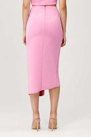 Acler Ladies Pink Crawford Skirt with Draped Wrap Back Detail