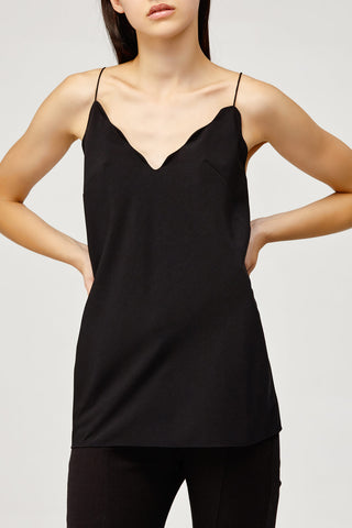 Acler Ladies Loose Fitted Black Aviel Cami with Scalloped Neckline