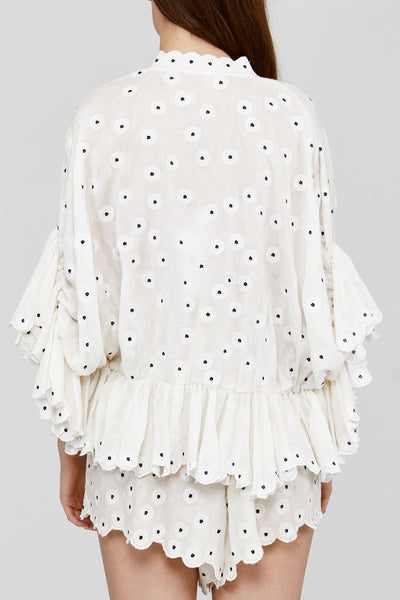 White Oversized Acler Ladies Linen Blouse Back Detail