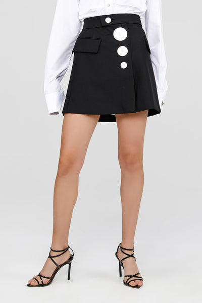 Black Acler Lynne Skirt with Button Detail