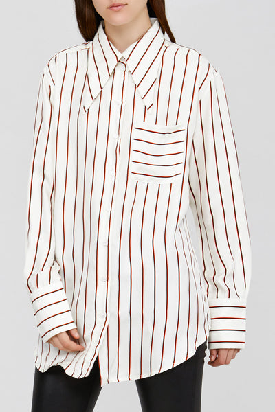 White Acler Ladies Silk Shirt with Ruby Red Stripes