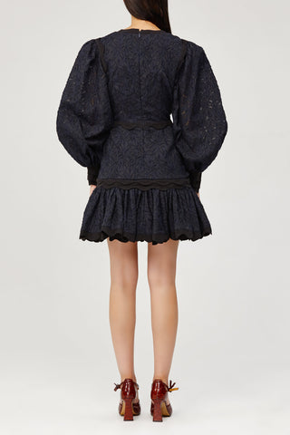 Acler Ladies Navy Lace Mini Dress with Scalloped Edges and Ruffles Back Detail