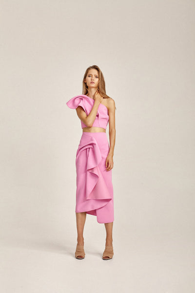 Acler Ladies Pink Crawford Skirt with Draped Wrap