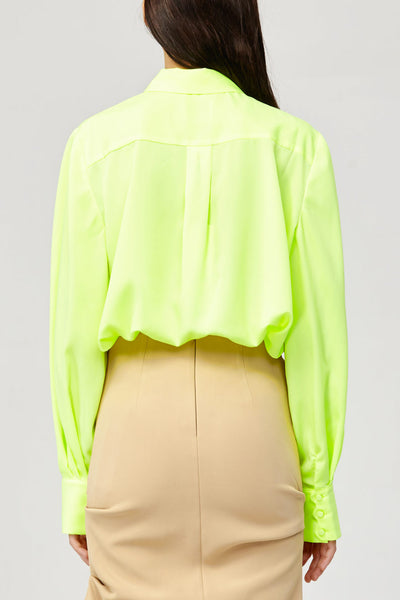 Acler Ladies Citrine Fluro Green Long Sleeved Collared Shirt Blouse Back Detail