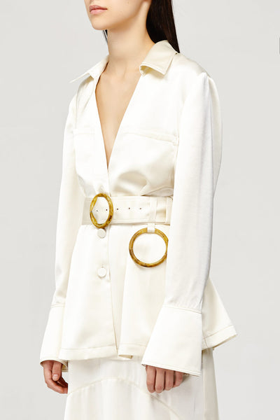 Acler Ladies Cream Soto Top, V-neck Collared Shirt