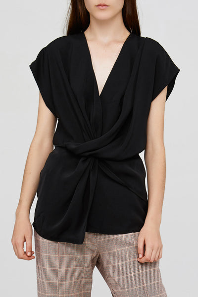 Acler Black Ladies Top with Drape Neckline