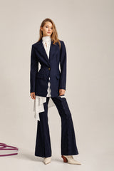 Acler Ladies Navy Aslo Flared Pants with Scalloped Front Pleat