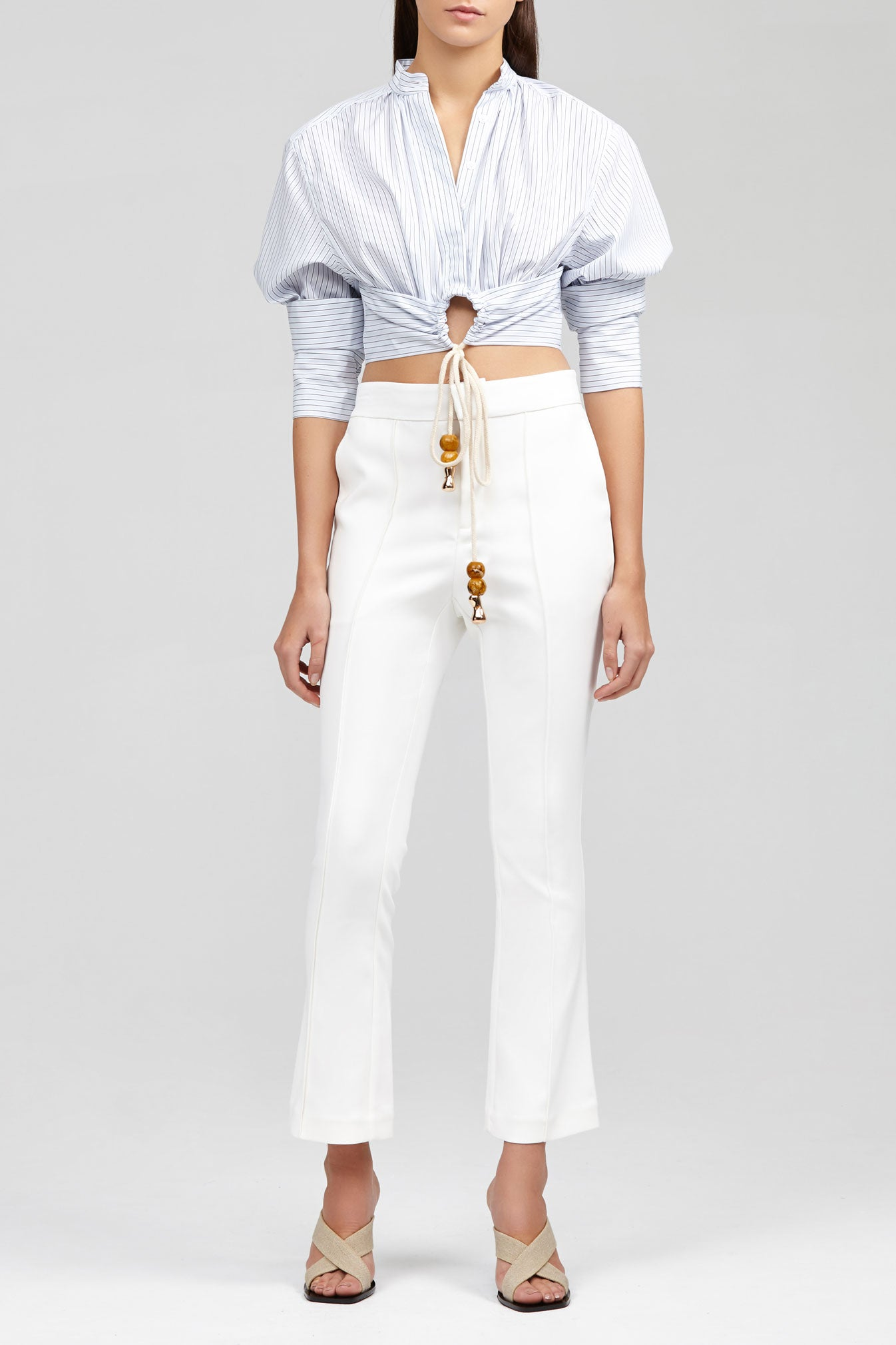Ivory Acler Cecil Cropped Pant with Flared Leg