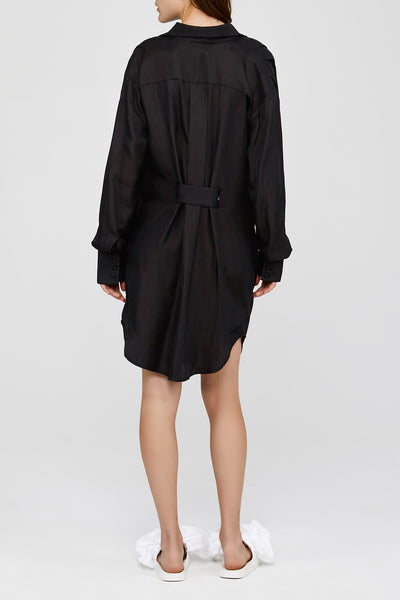 Black Acler Ladies Oversized Drape Mini Dress Back Detail