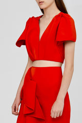 Red Acler Crawford Top with Sleeve Ruffles