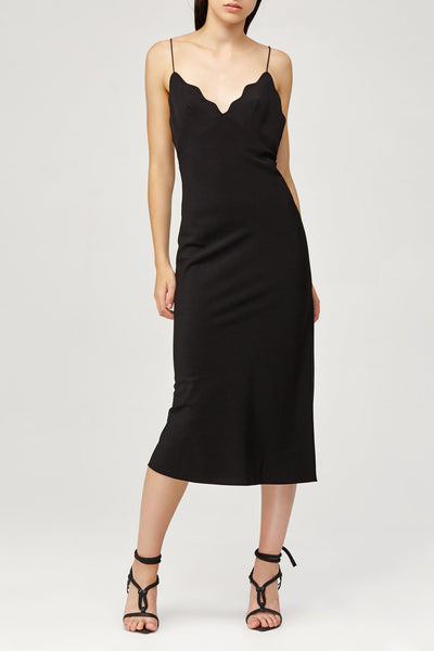 Acler Ladies Aviel Dress in Black with Scalloped V-Neckline