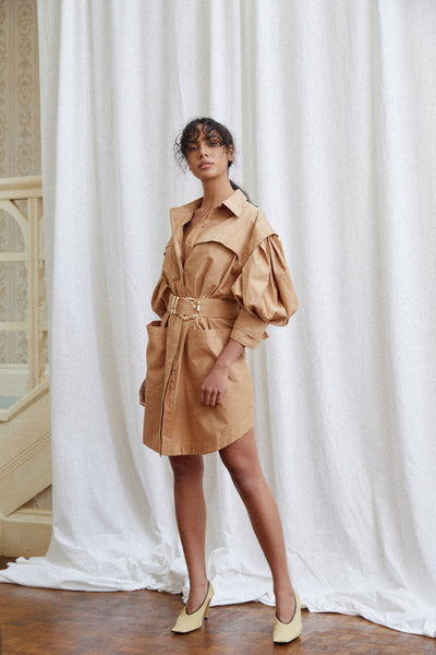 Acler Biscuit Brown Mini Dress with Gold Bamboo Hardware Belt Detail, Utility Pockets, Drop Shoulder, Curved Hemline, Collar and Puff 3/4 Sleeves