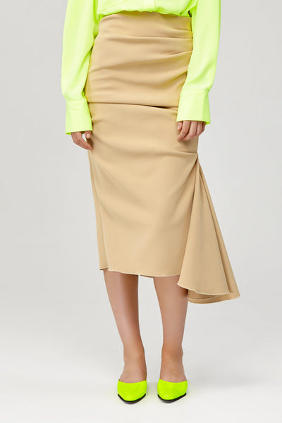 Acler Ladies High Waisted Riverside Skirt with Ruching Detail and Ruffle Side