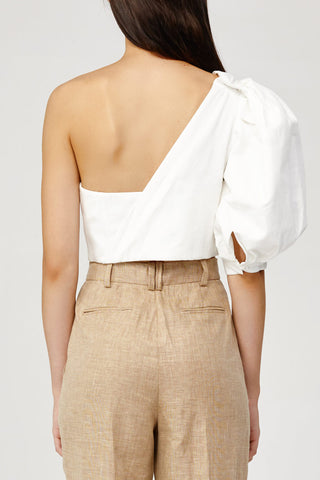 Acler Ladies White One (Cold) Shoulder Top with Draped Sash Back Detail