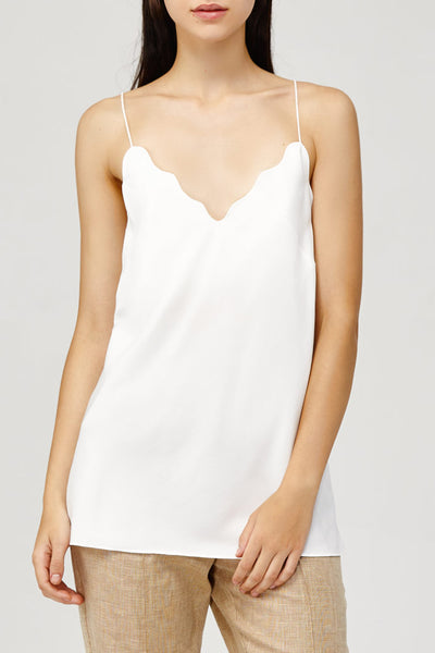 Acler Ladies Loose Fitted White Aviel Cami with Scalloped Neckline