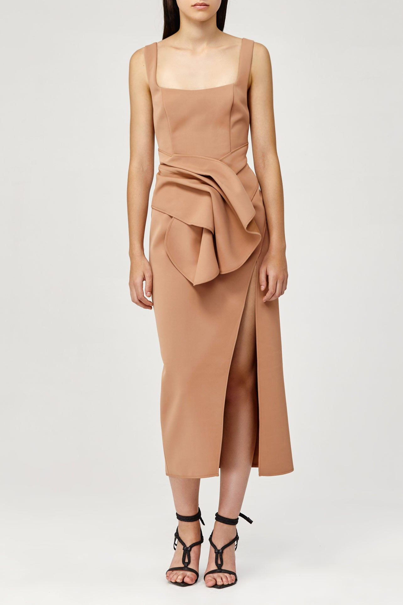 Acler Ladies Habana Dress in Tan with Drape Detail
