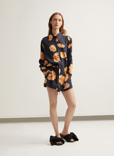 Black Acler Ladies Silk Shirt with Poppy Pattern