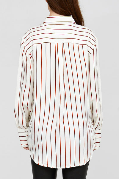White Acler Ladies Silk Shirt with Ruby Red Stripes Back Detail