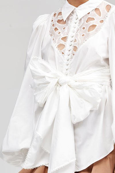 Ivory Acler Vicount Shirt with Exaggerated Sleeves and Embroidery Detail