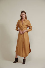 Acler Long Sleeved Caramel Midi Shirt Dress