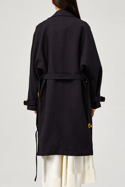 Acler Ladies Black Collared Arbour Trench Coat Back Detail