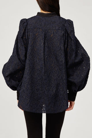 Acler Ladies Navy Lace Long Sleeved Blouse Top with Scalloped Edges and Ruffles Back Detail