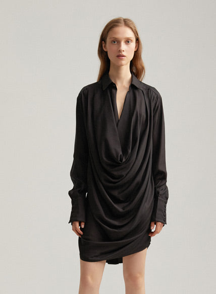 Black Acler Ladies Oversized Drape Mini Dress