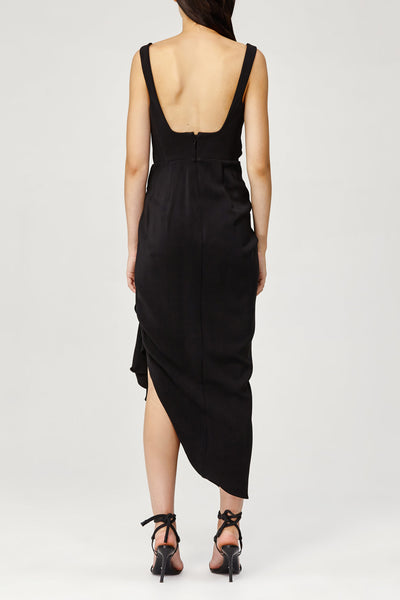 Acler Ladies Black Maine Dress with Fitted Bodice and Wrap Around, Asymmetric Skirt Back Detail
