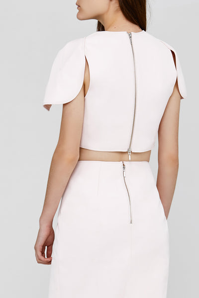 Zip Detail on Pastel Pink Crawford Acler Top