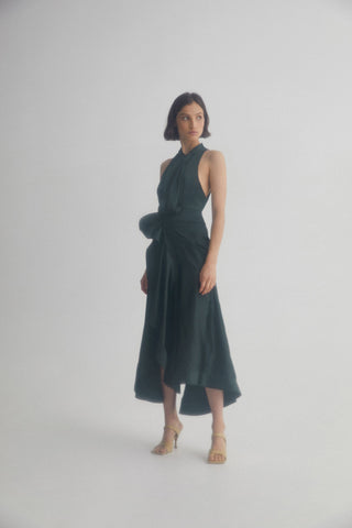 Acler Black Midi Dress with High Neckline, Asymmetric Hemline and Soft Tuck and Fold Detail