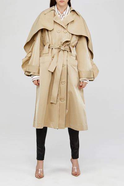 Cream Ladies Acler Trench Coat with Oversized Sleeves