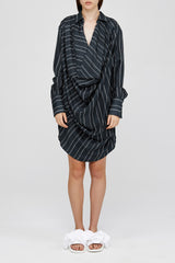 Ink Acler Ladies Striped Oversized Drape Mini Dress