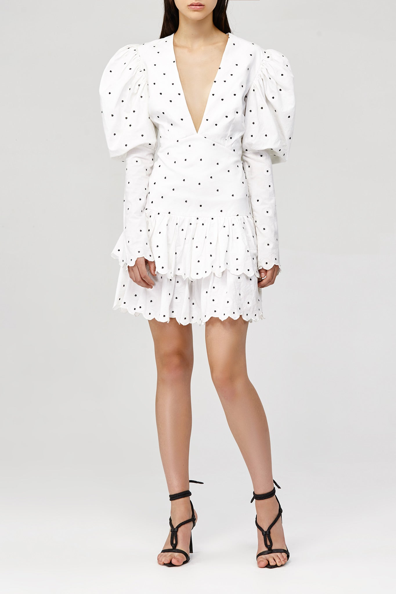 White Acler Sunny Mini Dress with Ruffles