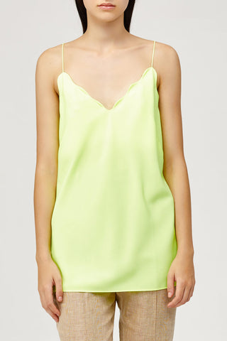 Acler Ladies Loose Fitted Citrine Lime Green Aviel Cami with Scalloped Neckline