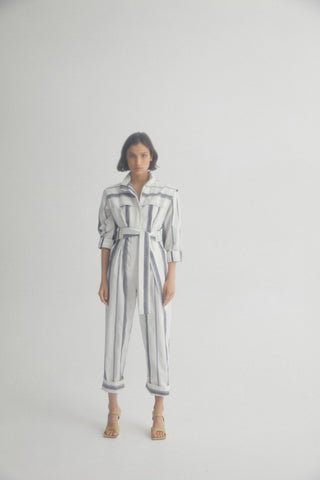 Acler Ladies Blue and White Striped Full Length, Relaxed Fit Jumpsuit with Long Sleeves, Cuffed Legs and Waist Tie