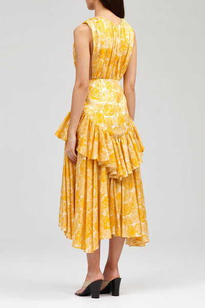 Acler Yellow Grosvenor Dress with Ruffled Hem and Cut Out Detail - Back Detail