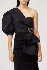 Acler Ladies Black One (Cold) Shoulder Top with Draped Sash