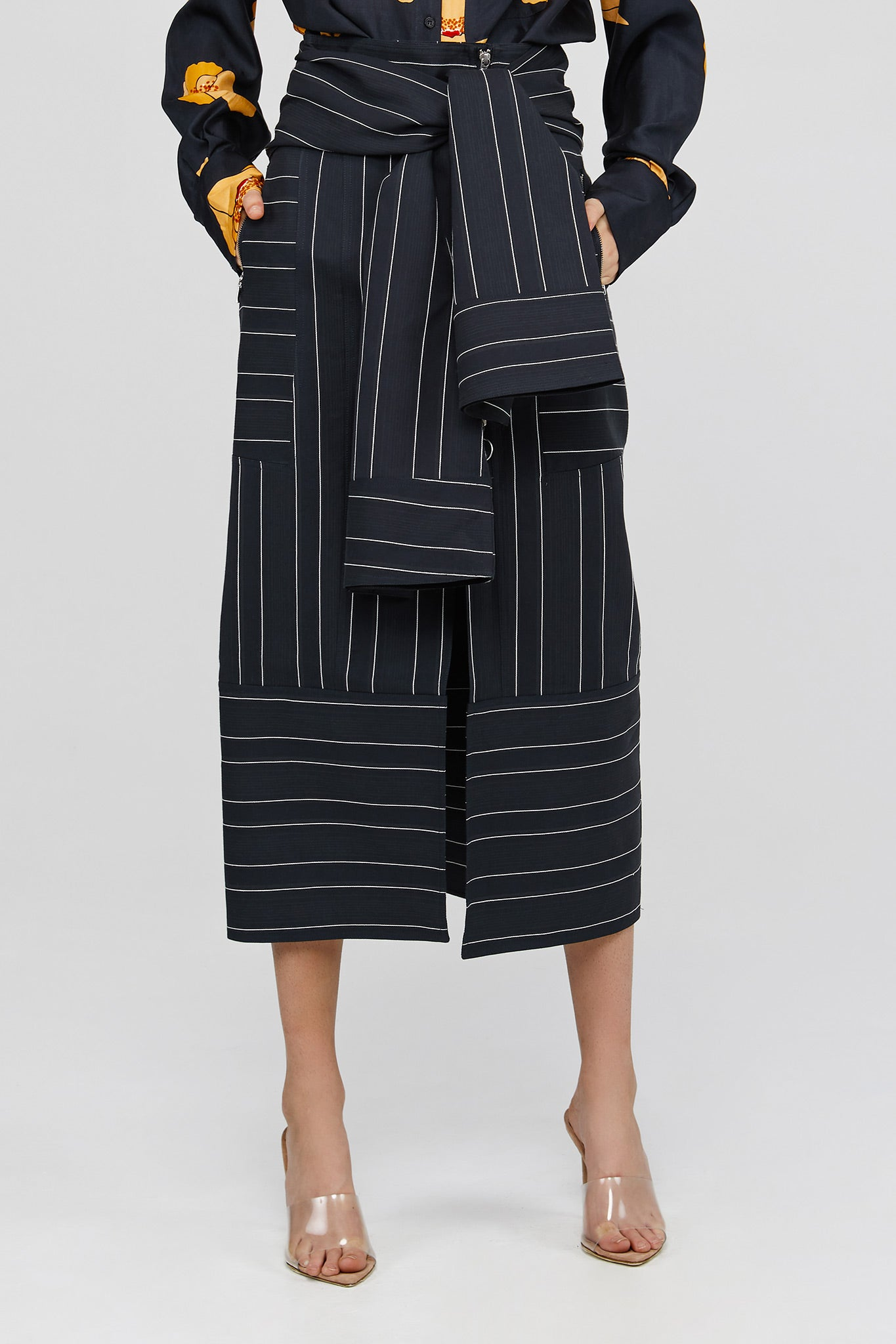 Ink Acler Ladies Midi Panel Striped Skirt with Front Drape
