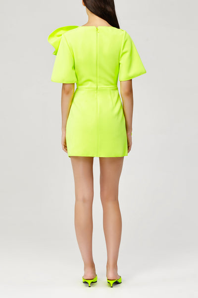 Acler Ladies Citrine Fluro Green Draped Mini Dress with Short Sleeves Back Detail