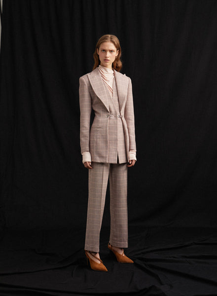 Acler High Waisted Ladies Wool Blend Pant in Clay Check