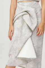 Acler Ladies Metallic Silver Crawford Skirt with Draped Wrap