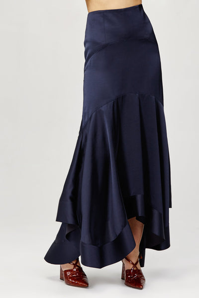Acler Ladies Midnight Blue Soto High Waisted, Asymmetrical Skirt
