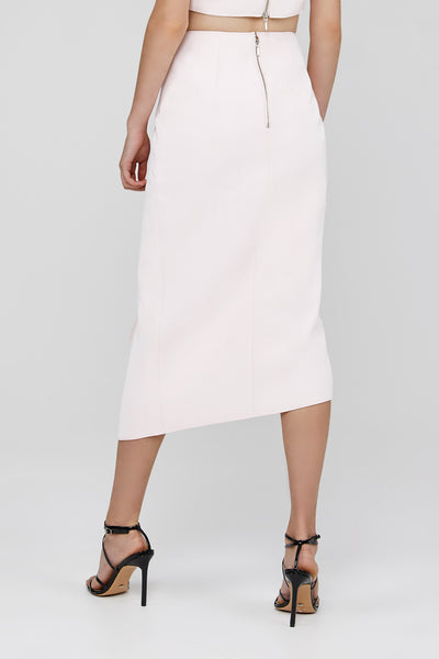 Back Zip Detail on Pastel Pink Acler Crawford Skirt